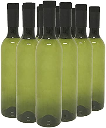 Plastic Wine Bottles & Screw Caps,  Green,  750ml - Pack of 12