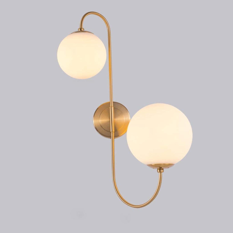 Wandlampe Mode hochwertigen Gold Schmiedeeisen Glaskugel Wandleuchte Persnlichkeit Kreative Wohnzimmer Schlafzimmer Gang Innenleuchte Einstellbare Wandleuchte (Farbe   H)
