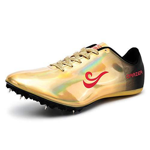 Zapatillas De Atletismo Unisex Zapatillas De Correr Con Clavos Para Hombre Mujer Zapatillas De Atletismo Atléticas Zapatillas De Carrera Con 8 Espigas Niños Niñas,Oro,37EU