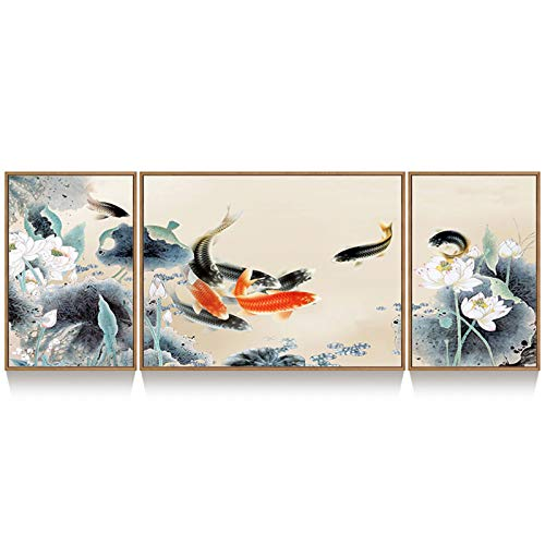 WMQ Living room decoration painting sofa background wall triptych nine fish...