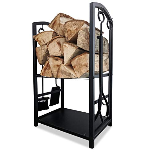 CROSSFER Kaminholzregal schwarz aus Metall mit Kaminbesteck 4-teilig, Holzstapelhilfe für Brennholz inkl. Schürhaken, Schaufel, Besen und Feuerzange