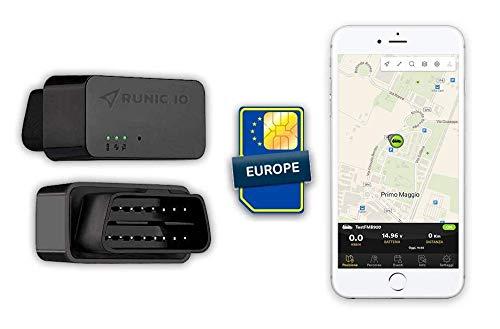 RUNIC.IO Localizzatore GPS Tracker OBD2 | Per Auto e Furgoni | SIM con Copertura Europea | 2 Mesi di Servizio Cloud e Traffico Dati Inclusi