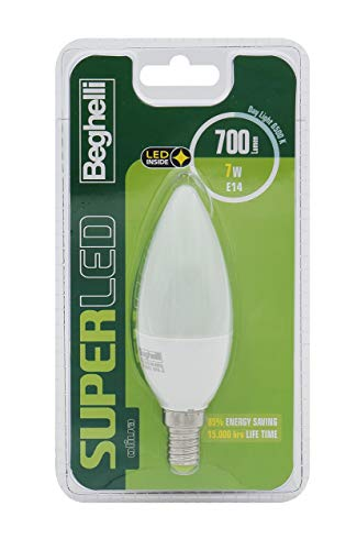 BEGHELLI SuperLED Oliva Bombilla LED, E14, 7W, luz fría, 6500° K Blanca