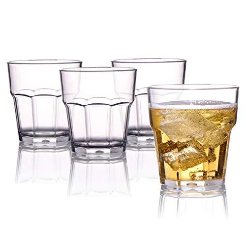 MICHLEY Plastik Unzerbrechliche Whiskeygläser, Kinder Mehrweg Stabile Plastikbecher, Tritan-Kunststoff trinkglasr für Wasser, Whisky, Wein, Wodka, Cocktail 250ml 4er Set