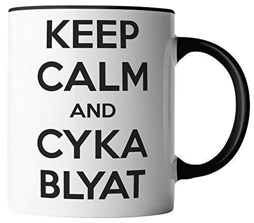 vanVerden Tasse - Keep Calm and Cyka Blyat - Russland Russia - beidseitig Bedruckt - Geschenk Idee Kaffeetassen, Tassenfarbe:Weiß/Schwarz