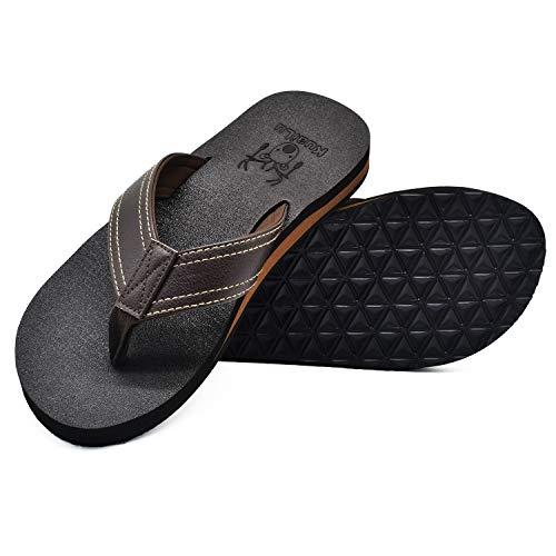 KuaiLu Flip Flops Herren Flach Weich Leder Bade Sandalen Comfy Breite Füße Badelatschen Yoga Schaum Sommer Strand Zehentrenner,Bräunen,43 EU