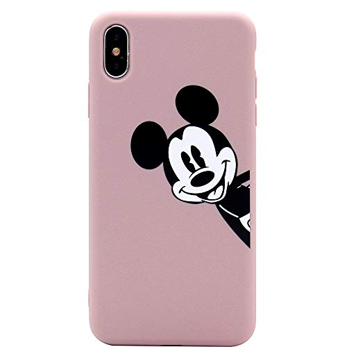 iPhone X Case, MC Fashion Cute Printed Cartoon Mickey Mouse Case for Teens Girls Boys Women, Ultra Slim Soft Thickened TPU Case for Apple iPhone X (2017) and iPhone Xs (2018) (Dusty Pink)