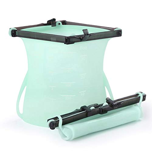 Bolsas de silicona reutilizables para almacenamiento de alimentos, bolsas herméticas para congelar el vapor, calentar microondas, frutas, verduras, carne, leche, ecológicas verde