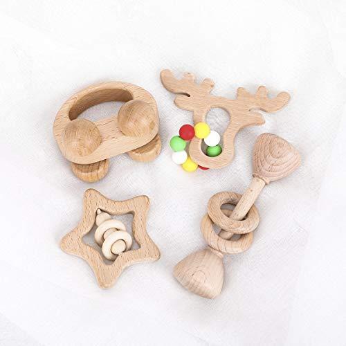 Promise Babe 4pc Bio Holz Rassel Baby Zahnen Greifspielzeug Montessori Stil Rasseln Einzigartige Weihnachten/Dusche Geschenk
