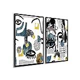 DekoArte - Cuadros Decoración | Moderno Sofisticado con Marco en PVC | Trípticos Decorativos Para Salón o Dormitorio | Póster con acrilico 0'5mm| Nordico, Abstracto, Picasso | 2 piezas 100x70 cm
