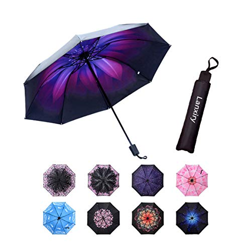 Compact Travel Umbrella,Windproof Waterproof Stick Umbrella Anti-UV Protection Golf Umbrellas (Orchid)