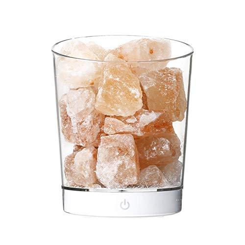 Natürliche Salzlampe, USB Pink Salt Crystal Rock Lampe, kleine mineralische negative Ionenstein Lava Salz Nachtlampe, verwendet für Schlafzimmer, Korridor und Bar Dekoration Lichter (Weiße Basis)