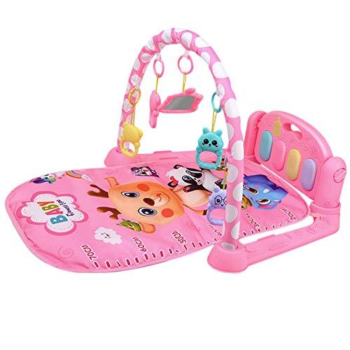 iBaste Manta de juegos con arco de juegos, manta para gatear, alfombra de juegos para bebés con 5 juguetes colgantes para caminar, esterilla de gimnasia para piano