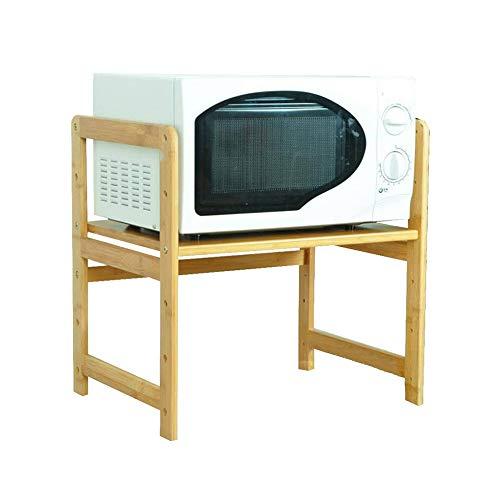 KX-YF Forno A Microonde Rack Portautensili per Forno A Microonde in bambù A 2 Livelli con Ganci Portaoggetti Multifunzionale da Cucina (Size:50cm; Color:Natural)