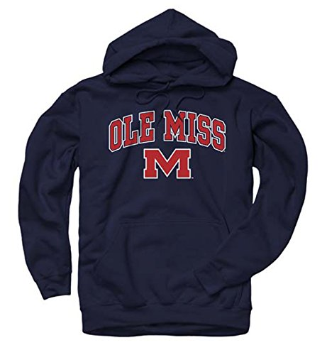 Campus Colors Adult Arch & Logo Soft Style Gameday Hooded Sweatshirt (Ole Miss Rebels - Blue, Medium)