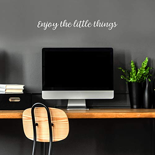 Vinyl Wall Art Decal - Enjoy The Little Things - 3' x 23' - Trendy Cursive Modern Life Home Bedroom Living Room Work Office Indoor Outdoor Apartment Workplace Decor Quote (2.84' x 23', White)