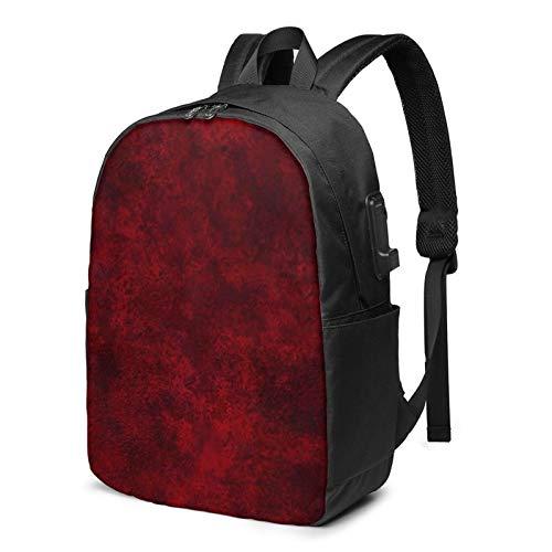 WEQDUJG Mochila Portatil 17 Pulgadas Mochila Hombre Mujer con Puerto USB, Material de Yeso Rojo Oscuro Burdeos Mochila para El Laptop para Ordenador del Trabajo Viaje