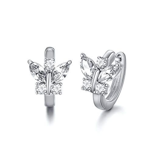 Creolen Schmetterlinge Sterling Silber 925 Kinder Ohrringe Mädchen mit Kristallen, Schmetterling Schmuck Geschenke für Frauen (Weiß)