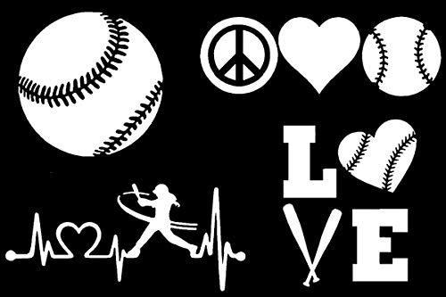 CCDecals Softball Decals 4 Pack: Softball, Peace Love Softball, Love, Heartbeat (Softball White)
