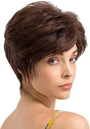 Akashkrishna synthetic hair women full head Short women wigs natural hair full head Bangs Fluffy Layered Pixie Cut Wig