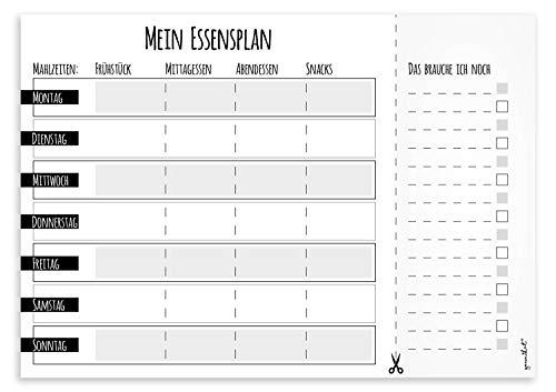Ein Notiz-Block I Mein Essensplaner I DIN A4 I 50 Blatt I Essens-Organizer mit Einkaufs-Liste I Block für Familien zum Abreißen I dv_660