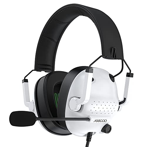 Jeecoo J50 Gaming Headset for PS4 PS5 Xbox One S/X - Stereo Sound Headphones with Microphone - Folding, Comfortable Lightweight Fit Compatible with PC Laptop Mobile Devices- White
