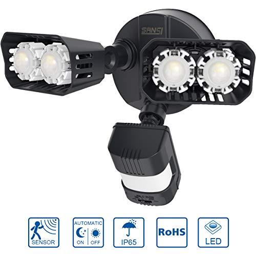 LED-spot buiten met bewegingsmelder 18W - SANSI 1800 lumen superhelder LED-schijnwerper IP65 waterdicht buitenlamp bewegingsmelder LED wandlamp voor tuin, garage, binnenplaats