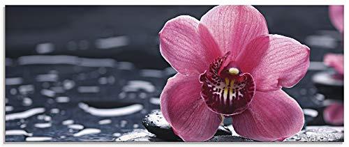 Artland Glasbilder Wandbild Glas Bild einteilig 125x50 cm Querformat Asien Natur Botanik Blumen Blüten Orchideen Zen Entspannung Pink T9MN