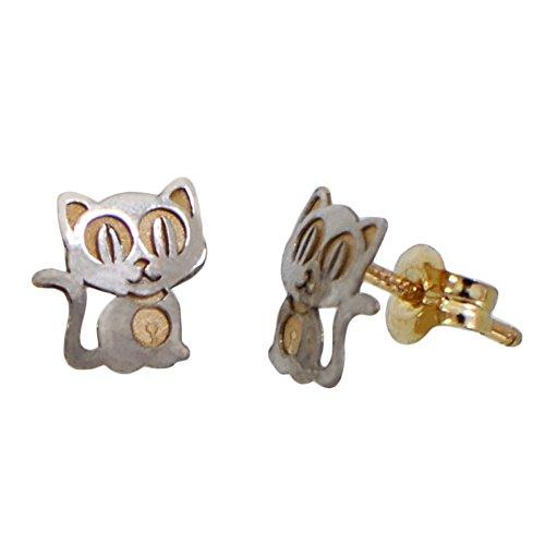 I-be, Katze Ohrstecker, 14 k (585) Gold, 7x7 mm, 35585144603P