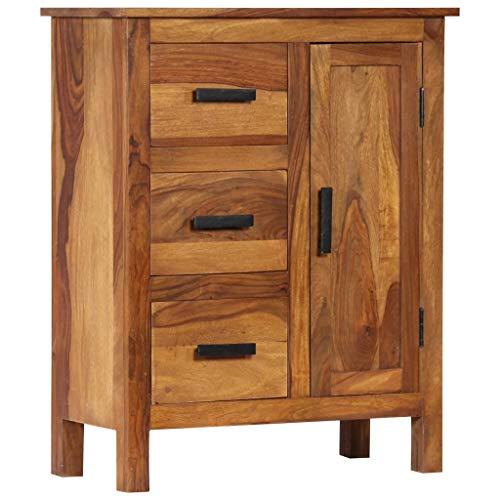 Festnight- Sideboard aus Sheesham-Massivholz | Kommode mit 3 Schubladen und 1 Schrank | Holz Schrank Beistellschrank Highboard 65 x 30 x 80 cm