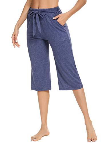 Sykooria Pantalones Capri de Verano Cortos para Mujer con Bolsillos,3/4 Pantalones de Mujer Yoga...
