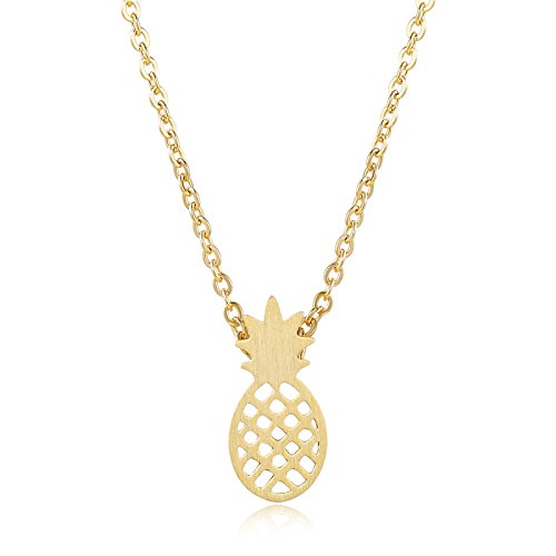 Rosa Vila Pineapple Necklace, Tiny Pineapple Jewelry For Women, Symbolizes Friendship And Generosity, Pineapple Things For Girls, Tropical Jewelry Gift, Pineapple Gifts For Women (Gold Tone)
