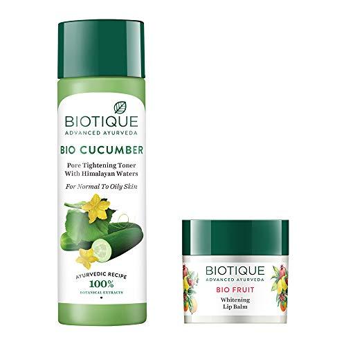 Biotique Bio Fruit Whitening Lip Balm, 12g and Biotique Bio Cucumber Pore Tightening Toner, 120ml (Pack of 2)