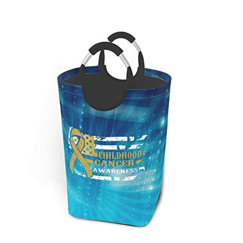 Bandera de concientización sobre el cáncer infantil Cesta de cesto de lavandería Cesta de lavado plegable Colección de juguetes Almacenamiento de lavado para niños con asas para un fácil transporte