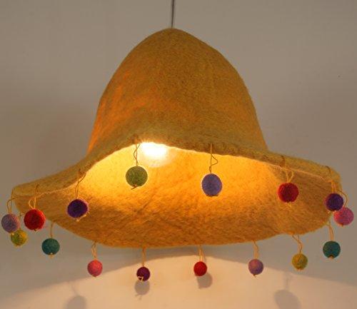 Guru-Shop Kinderzimmer Lampenschirm Happy Hut, Gelb, Filz, Farbe: Gelb, 20x30x30 cm,...