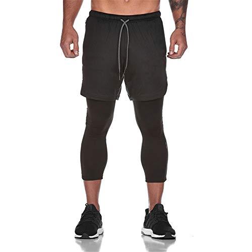 Fansu Pantalón Deportivos Cortos 2 in 1 para Hombre, Verano Running Training Jogging Fitness Shorts Transpirable Secado Rápido Corta Pantalones con Cordón Bolsillos (L,Negro)