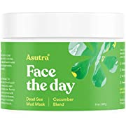 "Asutra, Organic Dead Sea Mud Mask,""CUCUMBER BLEND"" + FREE Applicator Brush, Combat Acne, Oily Skin & Blackheads, Minimize Pores, For Smooth, Beautiful & Healthy Looking Skin, 8 oz"