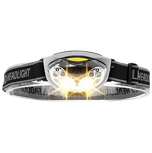 XAiOX Lampe Frontale à LED, LED Headlight + LED alimenté par Batterie Blanc/Rouge Lampe Frontale, 3 Modes de lumière pour Courir, Jogging, Camping, etc.