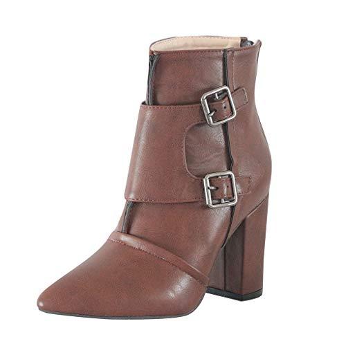 Posional Botas Mujer Moteras Botines Remaches Moda Casual Calzado Zapatillas con Cordones...
