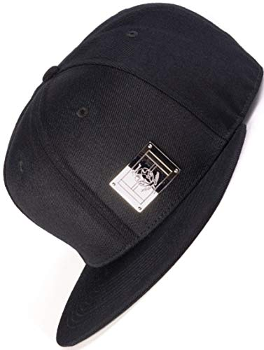 Bexxwell Snapback Cap schwarz mit Metall-Patch (optimale Passform, Kappe, Black, Unisex)