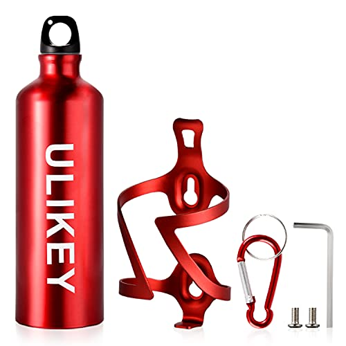 Ulikey Flaschenhalter Fahrrad Zubehör, Bike Wasserflaschenhalter aus Aluminium, Fahrrad Trinkflaschenhalter mit Karabiner und Aluminium Wasserflasche für Fahrrad, Rennrad, Mountainbikes (Rot, S)