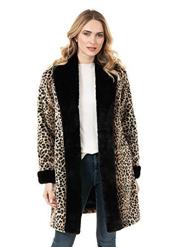 Leopard & Black Fox Tuxedo Faux Fur Coat (L) (Leopard)