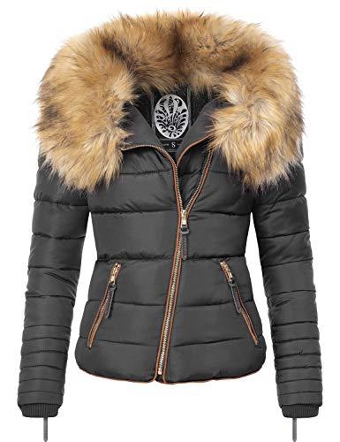 Navahoo dames winterjas gewatteerde jas met afneembare nep bontkraag Azu 3 kleuren XS-XL