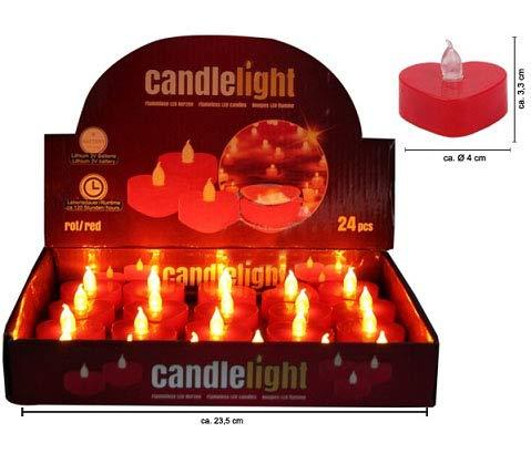 COOLMP Lot de 3 - Bougie Coeur Rouge LED Flamme vacillante 4cm