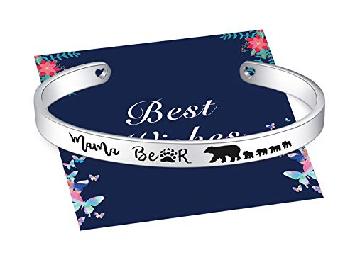 Mama Bear One Mother four 4 Cubs Cuff Bracelets Stainless Steel Bangle Jewelry with Pretty Gift Box, Christmas Birthday Thanksgiving Mother Day Gift for Mummy Mom