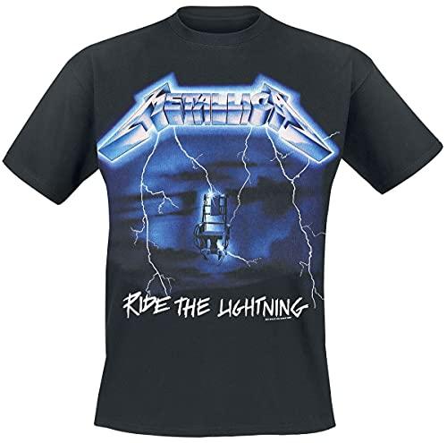 Metallica Ride The Lightning Hombre Camiseta Negro L, 100% algodón, Regular