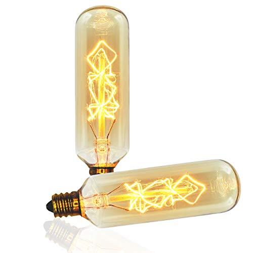 Vintage Edison Bulb, T25 Tube Spiral, 40w, E12 Base (Small), 2-Pack