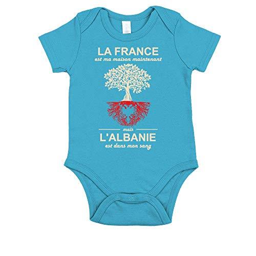 TEEZILY Body Bébé La France est ma Maison Maintenant mais l'Albanie est dans Mon Sang - Turquoise - 18MO