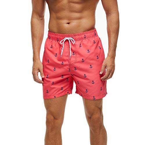TIANNBU Badeshorts Männer Bedruckte Badehose für Jungen Schnelltrocknend Schwimmhose Strand Shorts mit Taschen,Anker EU L
