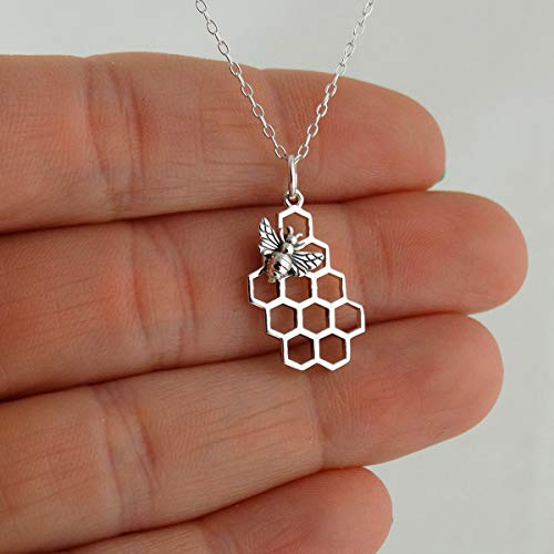 """Сharm - Honey Bee on Honeycomb Necklace 18"""" - 925 Sterling Silver Bees Hive Beehive Queen- Ideal Gift for Birthday Valentine Christmas"""